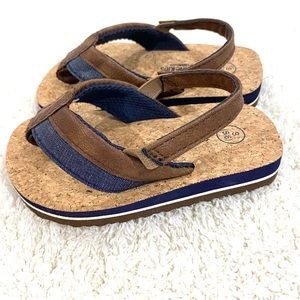 NWOT Toddler boy's sandals w faux leather detail